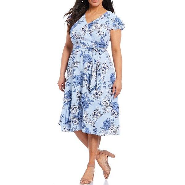 ジェシカハワード レディース ワンピース トップス Plus Size Floral Print Faux Wrap Crepe Midi Dress Blue