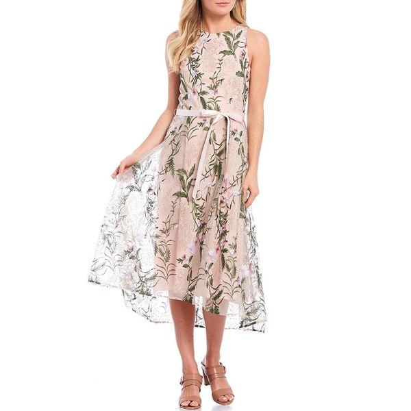 タハリエーエスエル レディース ワンピース トップス Petite Size Floral Embroidered Mesh Satin Ribbon Waist Sheath Dress Blush Multi