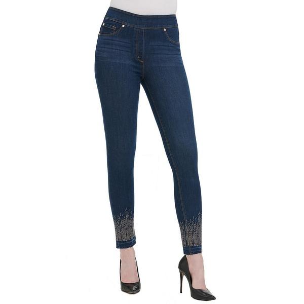 ピーターニガード レディース デニムパンツ ボトムス SLIMS Luxe Denim Release Hem Silver & Gold Embellished Ankle Skinny Jeans Dark Indigo