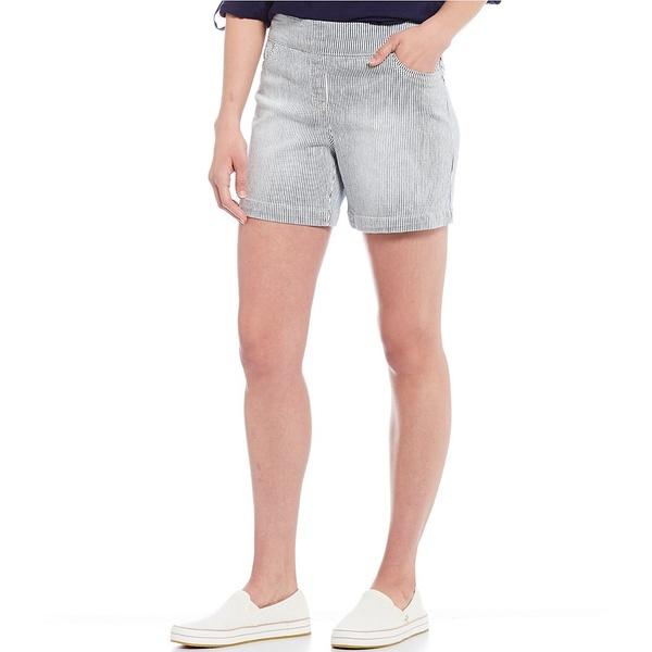 ウェストボンド レディース カジュアルパンツ ボトムス Petite Size Stripe the PARK AVE fit Cotton Blend Shorts Navy/White Micro Stripe