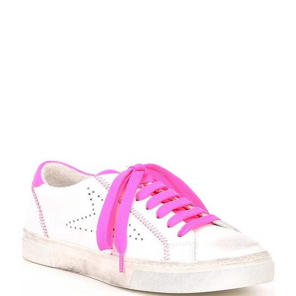 スティーブ マデン レディース スニーカー シューズ Steven by Steve Madden Rezza Neon Accent Leather Sneakers Pink Neon