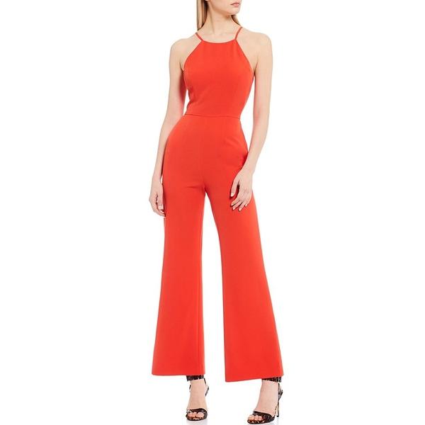 ジアーニビニ レディース ワンピース トップス Kara Halter Neckline Wide Leg Crepe Jumpsuit Red
