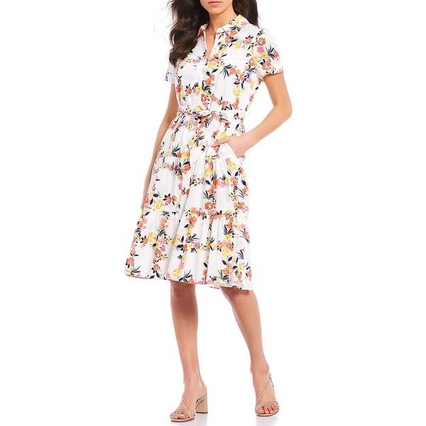 マギーロンドン レディース ワンピース トップス Button Down Floral Printed Short Sleeve Cotton Dress Soft White/Peach