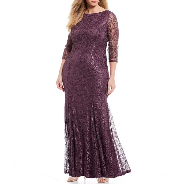 マリーナ レディース ワンピース トップス Plus Size Stretch Sequin Lace Scoop Back Mermaid Gown Amethyst