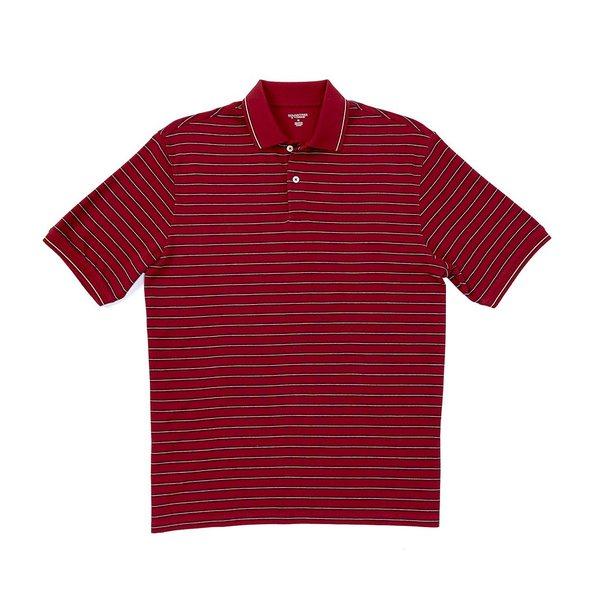 ランドツリーアンドヨーク メンズ ポロシャツ トップス Short-Sleeve Stripe Polo Merlot