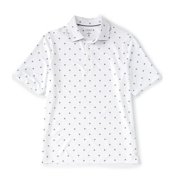 クレミュ メンズ ポロシャツ トップス Performance Shield Print Short-Sleeve Polo Shirt White