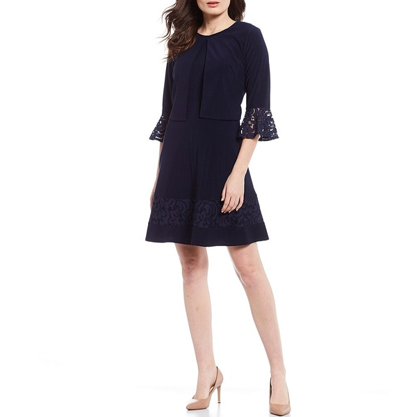 ジェシカハワード レディース ワンピース トップス Petite Size 2-Piece Lace Trim Bell Sleeve A-Line Jacket Dress Navy