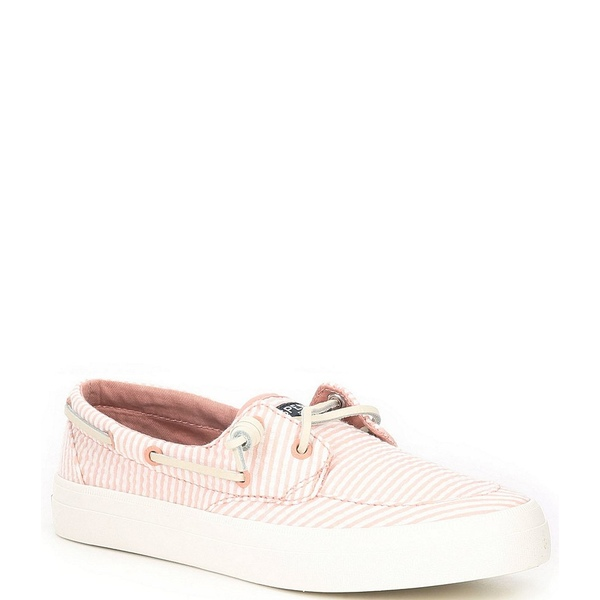 スペリー レディース デッキシューズ シューズ Crest Boat Seersucker Stripe Print Boat Shoes Coral/White