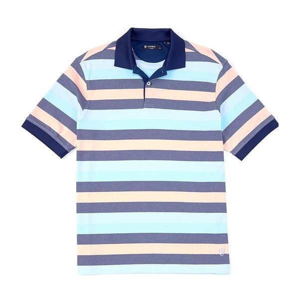 クレミュ メンズ ポロシャツ トップス Stripe Short-Sleeve Polo Shirt Coral