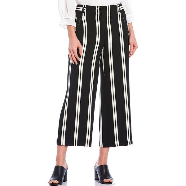 カールラガーフェルド レディース カジュアルパンツ ボトムス Stripe Tab Side Detail Culotte Pant Black/White