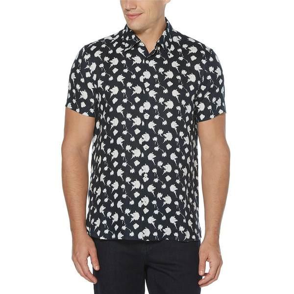 ペリーエリス メンズ シャツ トップス Dandelion Print Linen Short-Sleeve Woven Shirt Dark Sapphire