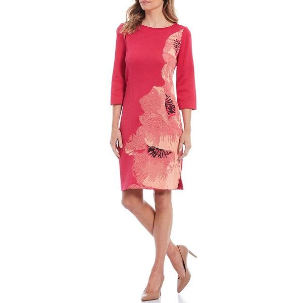 ミンウォン レディース ワンピース トップス Exploded Floral 3/4 Sleeve Dress Bright Rose/Black/Guava