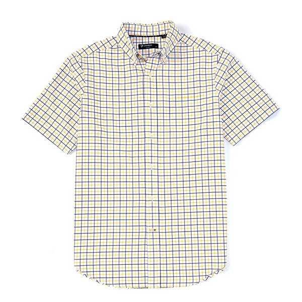 クレミュ メンズ シャツ トップス Short-Sleeve Check Oxford Woven Shirt Yellow
