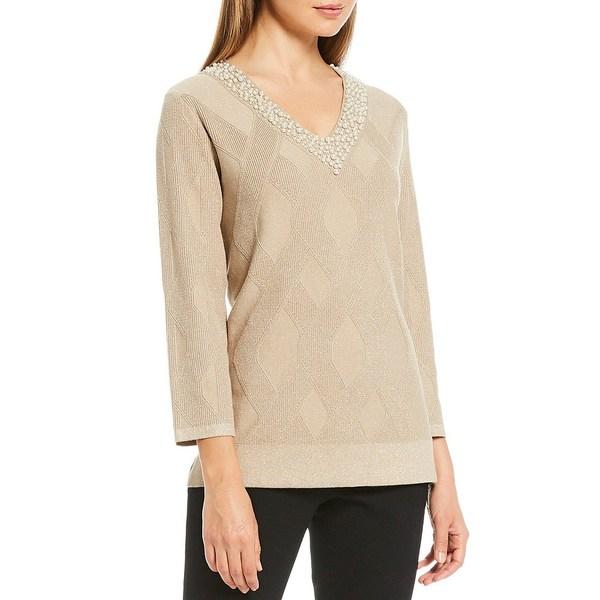 カールラガーフェルド レディース ニット&セーター アウター Pearl Embellished V-Neck Spun Rayon Plaited Sweater Wood/Gold