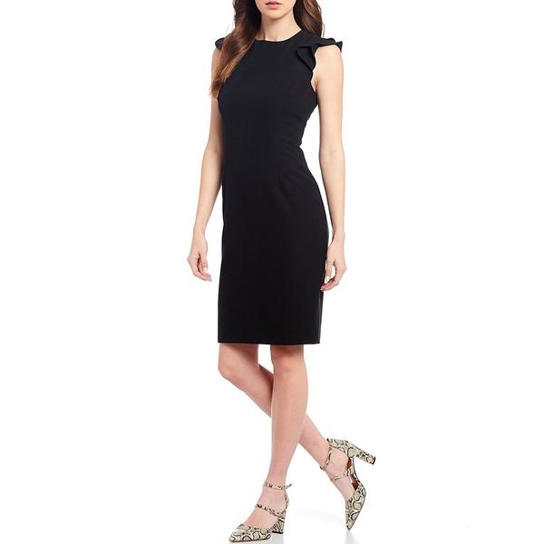 アントニオメラニー レディース ワンピース トップス Molly Stretch Crepe Round Neck Ruffle Cap Sleeve Sheath Dress Black
