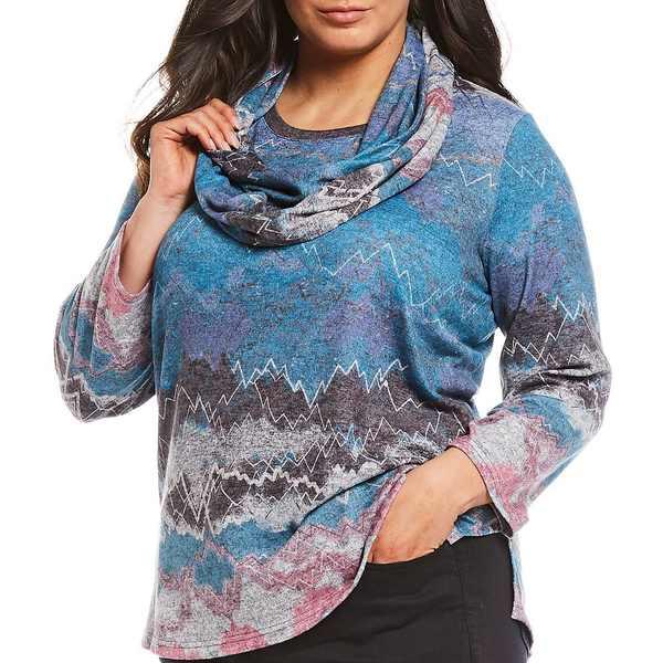 アリ マイルス レディース Tシャツ トップス Plus Size Abstract Heather Print With Scarf Knit Top Multi