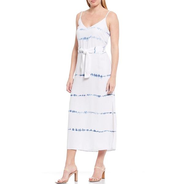 チェルシー&バイオレット レディース ワンピース トップス V-Neck Sleeveless Smocked Waist Midi Dress Indigo White