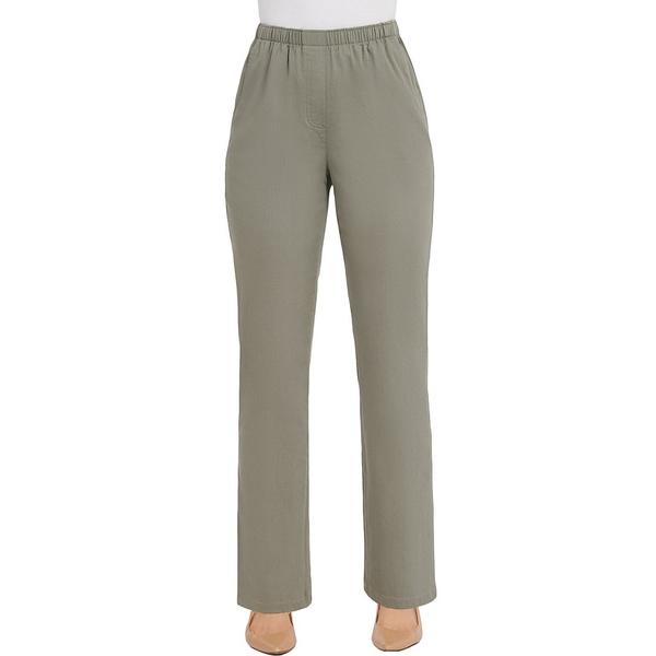 アリソンダーレイ レディース カジュアルパンツ ボトムス Petite Size Stretch Twill Pull-On Straight Leg Pants Sage