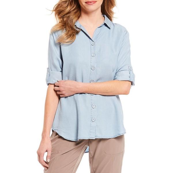 イントロ レディース シャツ トップス Petite Size 3/4 Roll-Tab Sleeve Button Down Shirt Light Bleach