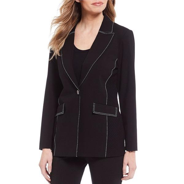 ミソーク レディース ジャケット&ブルゾン アウター Ponte Contrast Stitched Long Sleeve Jacket Black/White