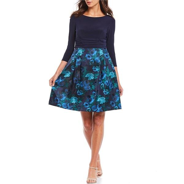 ジェシカハワード レディース ワンピース トップス Petite Size Jacquard Floral Print 3/4 Sleeve Party A-Line Dress Navy/Blue