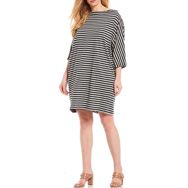 ブリンウォーカー レディース ワンピース トップス Plus Size Ingrid Organic Cotton Stripe Bateau Neck Short Sleeve Dress Blue/Grey