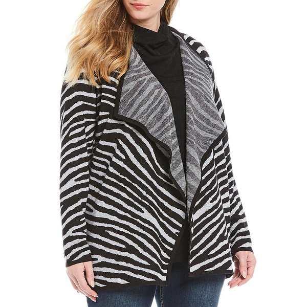 ジョーンズニューヨーク レディース ニット&セーター アウター Plus Size Zebra Print Cotton Blend Open Front Cardigan Zebra Silver Grey