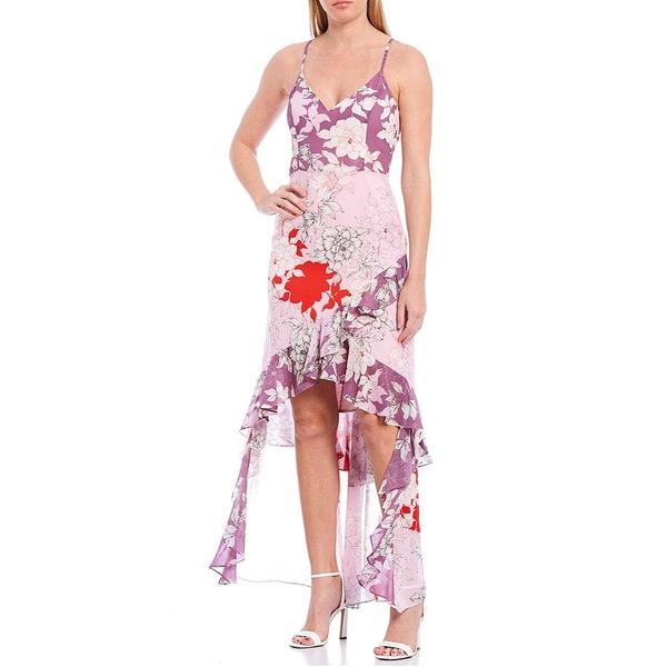 バッジェリーミシュカ レディース ワンピース トップス Raini Georgette Floral Printed Sleeveless Hi-Low Ruffle Dress Lilac Multi