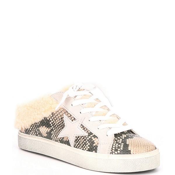 スティーブ マデン レディース スニーカー シューズ Polaris Snake Print Faux Fur Lined Star Sneakers Natural Snake