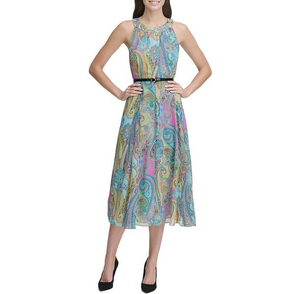 トミー ヒルフィガー レディース ワンピース トップス Halter Neck Sleeveless Belted Paisley Midi Dress Hot Pink Multi