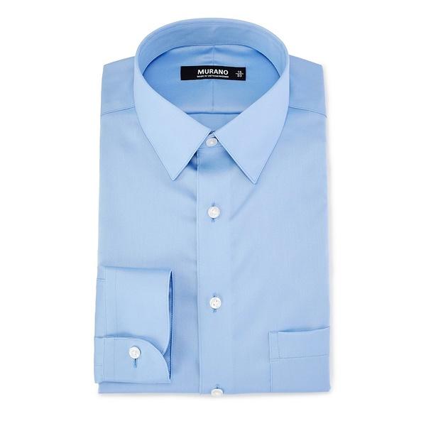 ムラノ メンズ シャツ トップス Slim-Fit Point-Collar Sateen Dress Shirt Light Blue