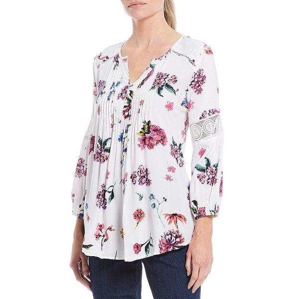 イントロ レディース シャツ トップス Petite Size Floral Print 3/4 Sleeve Pintuck Front Detail Hi-Low Top Bright White Floral