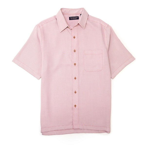 ランドツリーアンドヨーク メンズ シャツ トップス Big & Tall Short-Sleeve Solid Textured Square Tailed Shirt Berry Red