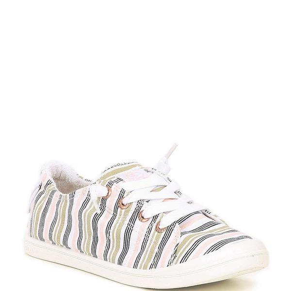 ロキシー レディース スニーカー シューズ Bayshore III Striped Canvas Slip-On Sneakers Novelle Peach