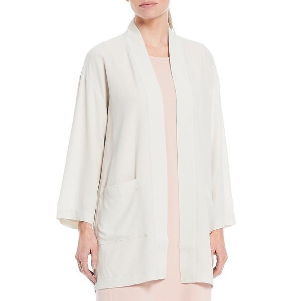 エイリーンフィッシャー レディース ジャケット&ブルゾン アウター Textured Matte Silk Georgette Crepe Kimono Jacket Bone