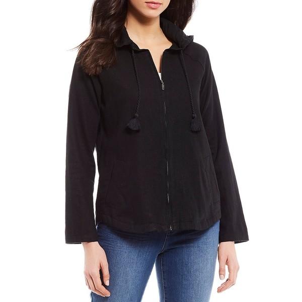 ウェストボンド レディース ジャケット&ブルゾン アウター Hooded Long Sleeve Zip Front Linen Jacket Black