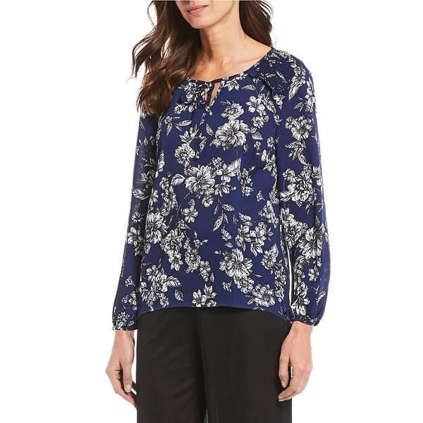 アイエヌスタジオ レディース シャツ トップス Petite Size Floral Print Tie-Neck Details Long Sleeve Hi-Low Hem Top Navy/Etchy Floral