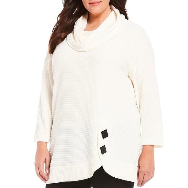 アリ マイルス レディース Tシャツ トップス Plus Size Textured Knit Cowl Neck Button Hem Detail Tunic Winter White