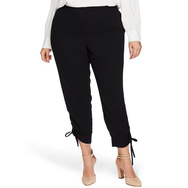 セセ レディース カジュアルパンツ ボトムス Cece Plus Size Tunnel Tie Cuff Ankle Pants Rich Black