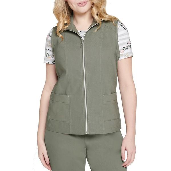 アリソンダーレイ レディース ジャケット&ブルゾン アウター Petite Size Stretch Twill Exposed Zipper Front Cotton Blend Vest Sage