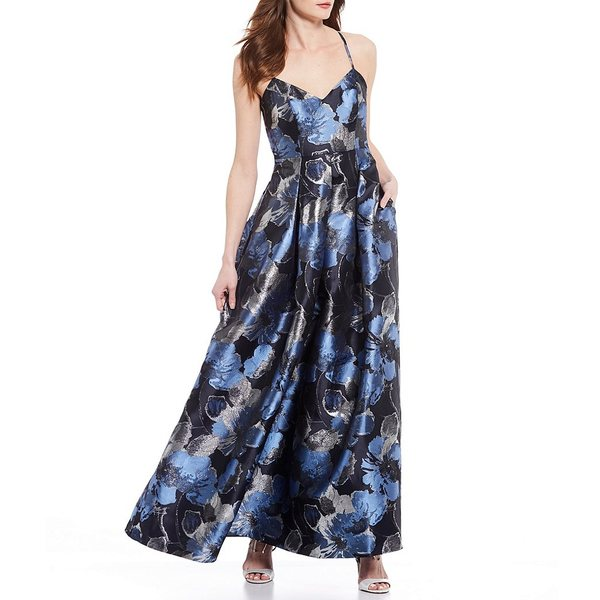 エリザジェイ レディース ワンピース トップス Metallic Jacquard Metallic Floral Print Criss Cross Back Ballgown Navy Multi