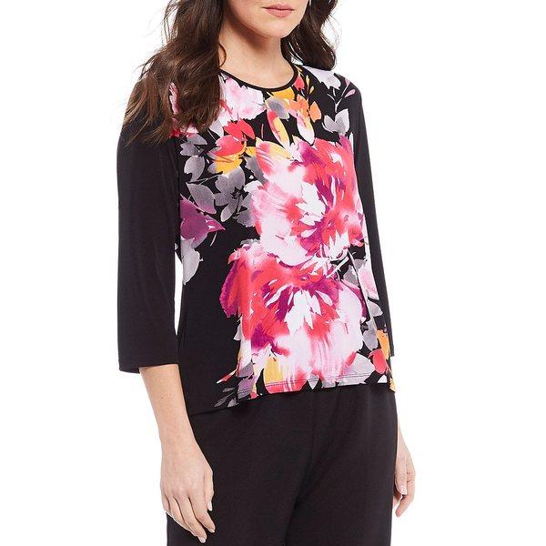 アリソンダーレイ レディース Tシャツ トップス Petite Size Blackberry Flower Print Knit Jersey 3/4 Sleeve Top Blackberry Flower
