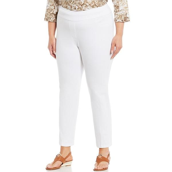 ルビーロード レディース カジュアルパンツ ボトムス Plus Size Pull-On Knitted Twill Knit Ankle Pants White
