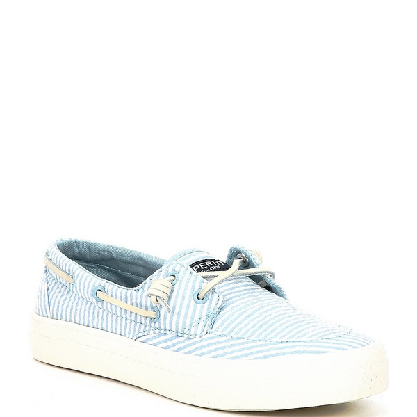 スペリー レディース デッキシューズ シューズ Crest Boat Seersucker Stripe Print Boat Shoes Blue/White