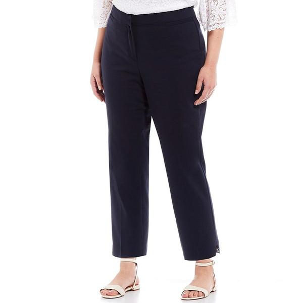 ルビーロード レディース カジュアルパンツ ボトムス Plus Size Double Face Stretch Embellished Side Slit Ankle Pants Navy