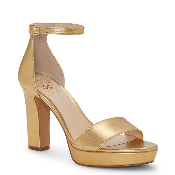 ヴィンスカムート レディース サンダル シューズ Sathina Leather Platform Dress Sandals Gold