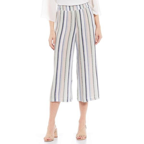 アイエヌスタジオ レディース カジュアルパンツ ボトムス Stripe Print Crepon Pull-On Capri Pants Sage/Blush Multi Stripe