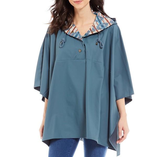 ペンドルトン レディース コート アウター 3/4 Sleeve Asymmetric Hooded Drawstring Rain Poncho Slate Blue