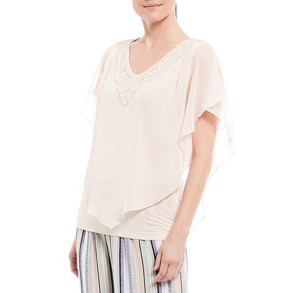 アイエヌスタジオ レディース シャツ トップス Petite Size Crochet V-Neck Split Sleeve Yoryu Top Blush