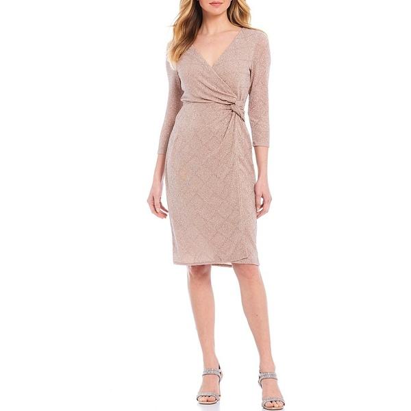 マリーナ レディース ワンピース トップス Glitter Knit V-Neck Side Knot Faux Wrap Dress Rose Gold